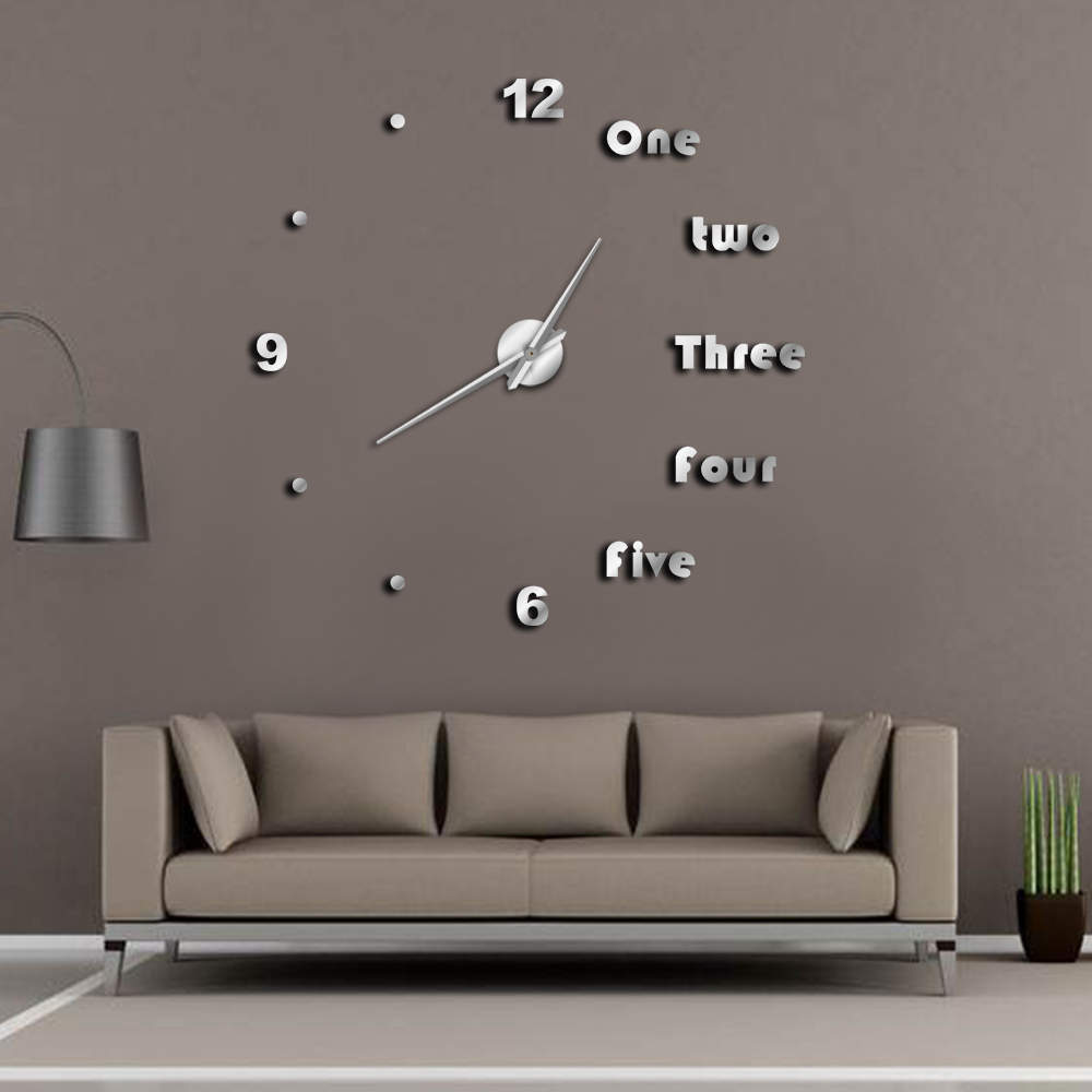 DIY Large Wall Clock Modern Wall Art Home Decor Luxury Interior Design English Letters Frameless Wall Watch Clock DIY Enthusiast