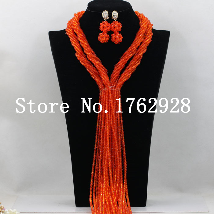 Orangered Crystal Beads Braids style African Nigerian Traditional ...