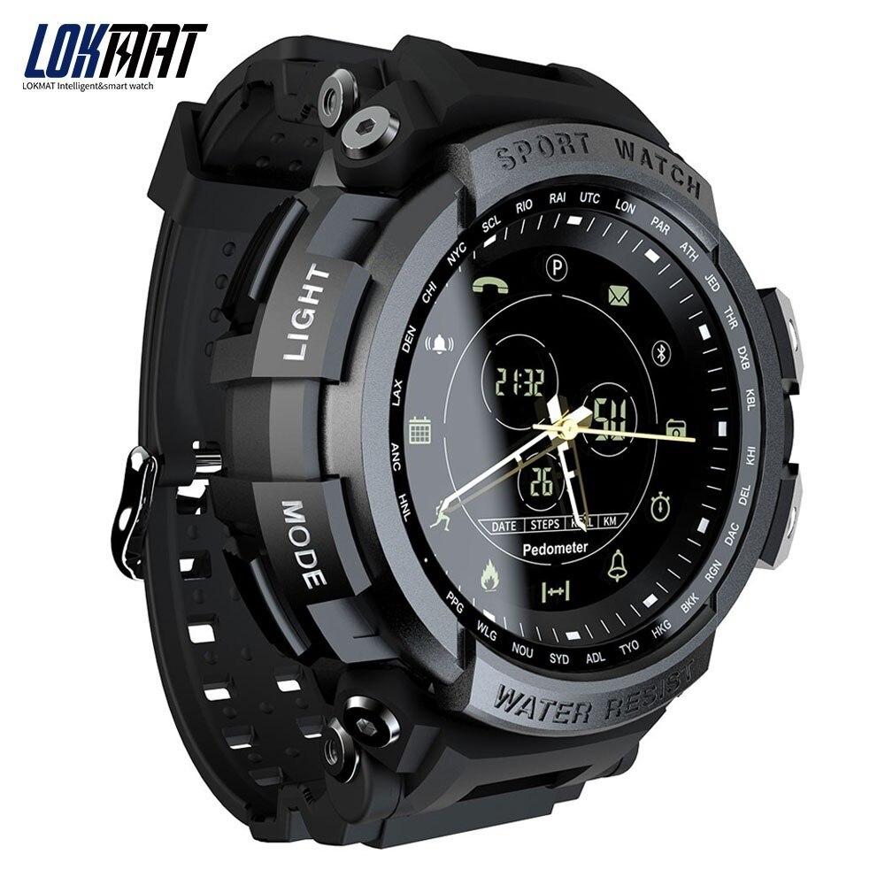 חדש LOKMAT SmartWatch ספורט 50 m עמיד למים Bluetooth שיחת תזכורת גברים חכם שעון עבור ios ו-android טלפון