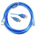 2.0 USB Extension Cable 3M Copper 10ft Male to Female USB Adapter Dual Shielding Transparent Blue High Speed Anti-interference