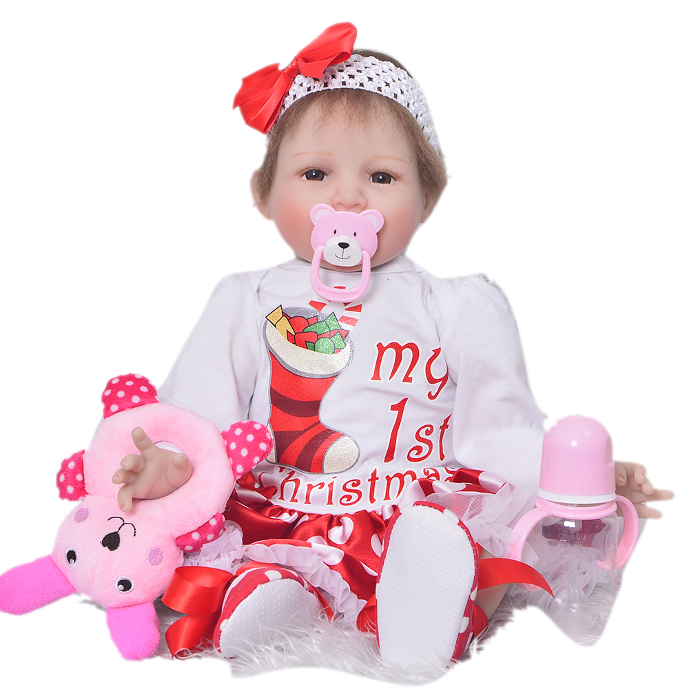 Touch Soft Reborn Babies 22'' Cloth Body Doll Realistic Smile Bebe Reborn Bonecas Toddler Silicone Vinyl 3/4 Limbs Newborn Dolls soft touch пкраска в балончике