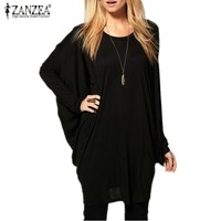 New 2015 Fashion Spring Autumn Women Batwing Bat Sleeve T Shirt Loose Oversize Long Top Tee