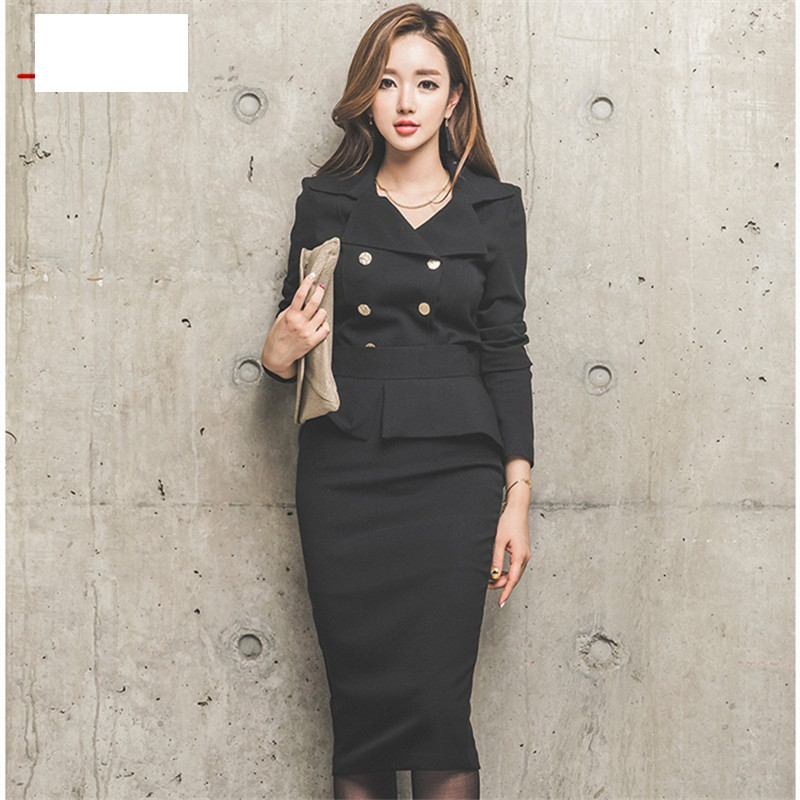 Qiqi-2-Piece-Set-Women-2016-Winter-White-black-double-breasted-Business-Flouncing-Slim-Crop-Top (3)