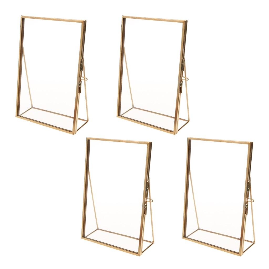 4PCS Brass Glass Photo Picture Frame Portrait Home Wedding Decor Freestanding Gold