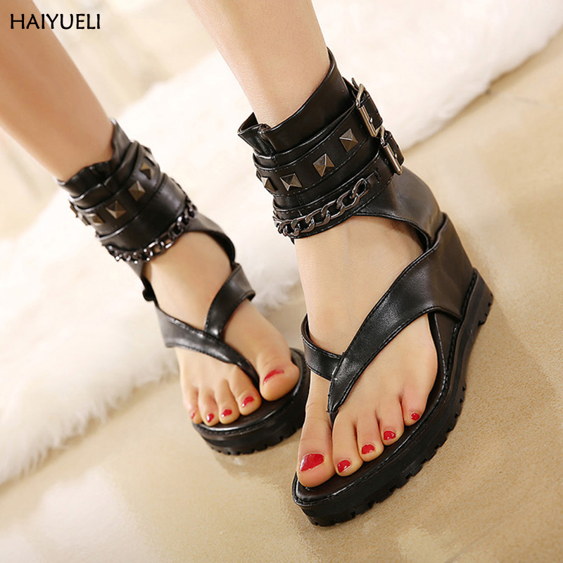 Summer platform sandals Ankle shoes punk Chain rivets gladiator sandals women flip flops womens shoes heels and wedges sandal phyanic 2017 gladiator sandals gold silver shoes woman summer platform wedges glitters creepers casual women shoes phy3323