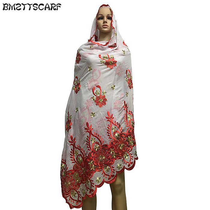 2019 последняя африканская Женская шаль головной платок мусульманок с вышивкой длинный шарф для Шали Обертывания 100% хлопок шарф