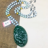 Zheru Jewelry Pure Natural Jasper Carved Lotus Fish Pendant Tricolor Jadeite Bead Necklace Send Class A Certificate