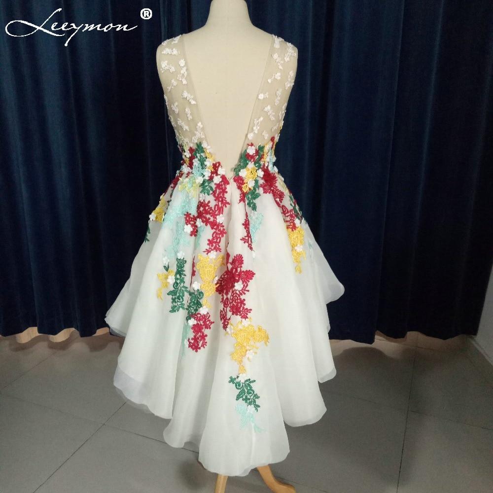 Stvarne fotografije Prozirna kratka prednja duga leđa Koktel haljina - Haljina za posebne prigode - Foto 5