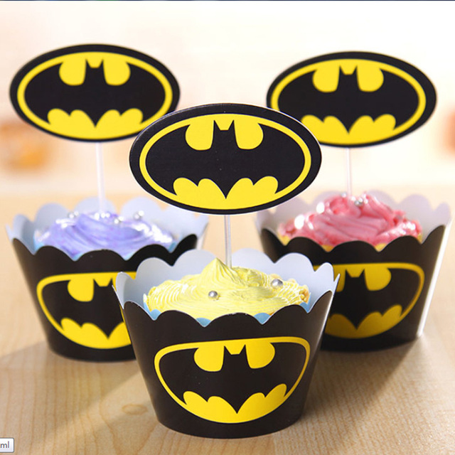 24pc Batman Cupcake Toppers Wrappers Party Supplies Kids Birthday ...