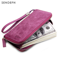 Sendefn Genuine Leather Ladies Purse Wallet Women Card Holder Purse Leather Wallet Clutch Money Bag Slim