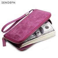 Sendefn Genuine Leather Ladies Purse Wallet Women Card Holder Purse Leather Wallet Clutch Money Bag Slim