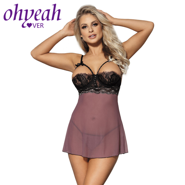 Ohyeahlover Camisola Sexy Lingerie Nuisette Femme Dentelle Lingerie  Sensuais RM80211 Purple Mad About Mauve Babydoll Chemise c96306f6c