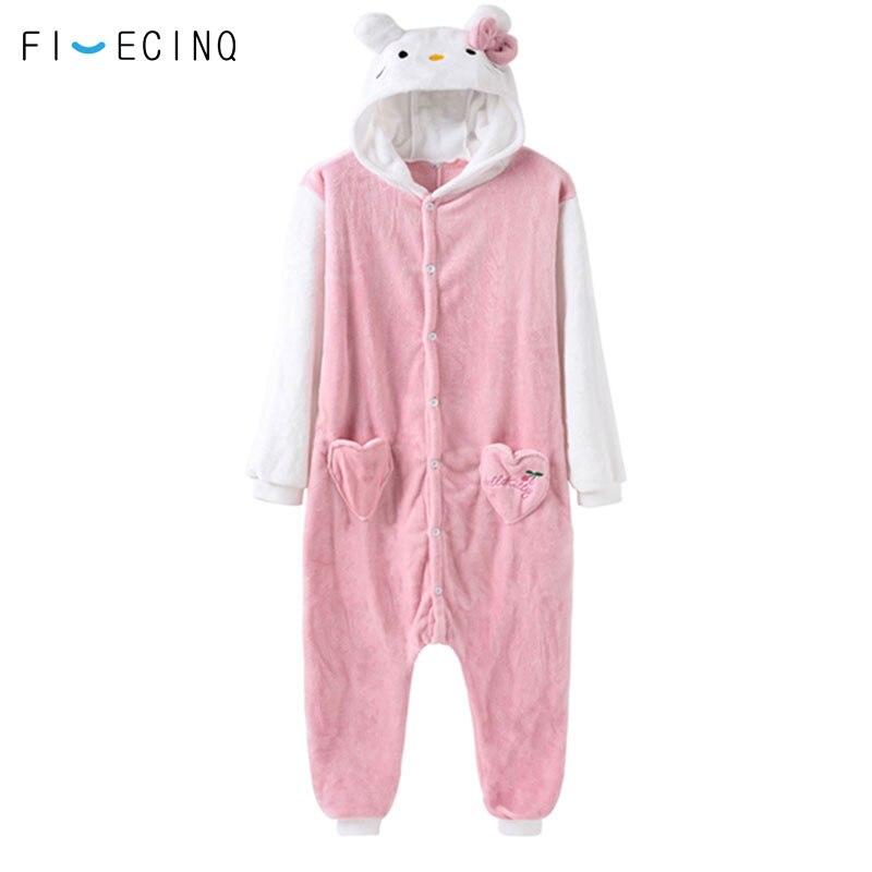 Cartoon Karakter Kitty Cat Animal Cosplay Kostuum Vrouwen Meisje Roze Pyjama Onesie Volwassen Jumpsuit Dikke Warme Nachtkleding Partij Fancy