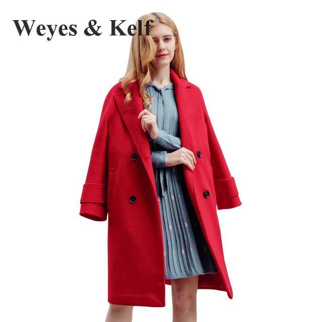 Aliexpress.com : Buy Weyes & Kelf Red Long Woolen Coat Womens 2017 ...