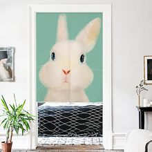 Japanese Noren Doorway Curtain Wall Hanging Tapestry Screens & Room Dividers Printed Cute Animal Pattern on Cotton Linen(China)
