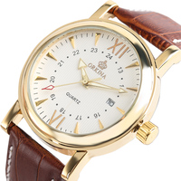ORKINA Date Display Analog White Dial Brown Leather Band Stainless Steel Round Case Dress Quartz Wrist