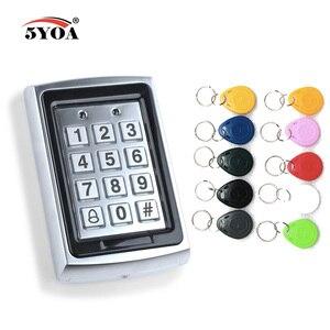 Image 1 - Teclado de Control de acceso Rfid de Metal a prueba de agua con 1000 usuarios lector de tarjetas de 125KHz teclado clave Fobs Sistema de Control de Acceso de puerta