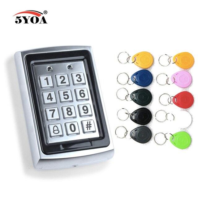 Teclado de Control de acceso Rfid de Metal a prueba de agua con 1000 usuarios lector de tarjetas de 125KHz teclado clave Fobs Sistema de Control de Acceso de puerta