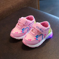 New Brand Cool European 2018 Colorful Lighting Kids Shoes High Quality Children Glowing Sneakers Cool Baby