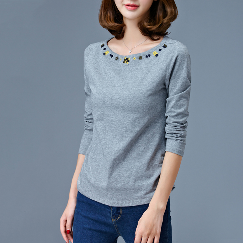 Simple Ethnic Embroidery Long Sleeve T Shirt Women Cotton Spring Tops Plus Size Ladies Solid Color White Autumn Bottoming Tees