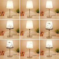 Lâmpada de mesa cristal lâmpada cabeceira nordic mini led desk lamp para o quarto sala estar do bebê estante tecido flaxen e27 plugue da ue