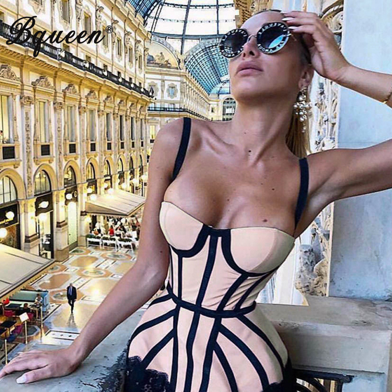 Bqueen Summer Sexy Lace Up Spaghetti Strap Striped Sleeveless Backless Bodycon Sheath New Fashion Women Dress