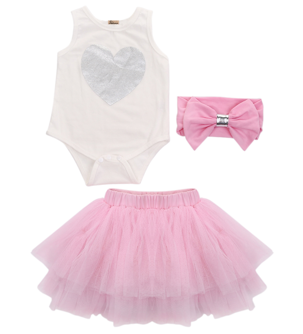 Baby Girl Princess Tutu Skirt Romper Headband Sets Clothes Sleeveless Heart Rompers Birthday Outfit Costume Pink blue summer newborn baby rompers ruffle baby girl clothes princess baby girls romper with headband costume overalls baby clothes