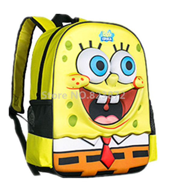 2b8279e28b899 لطيف 3d الكرتون سبونجبوب حقيبة أطفال الأطفال الحقائب المدرسية المدرسية  حقائب الظهر المدرسية الابتدائية للبنين بنات