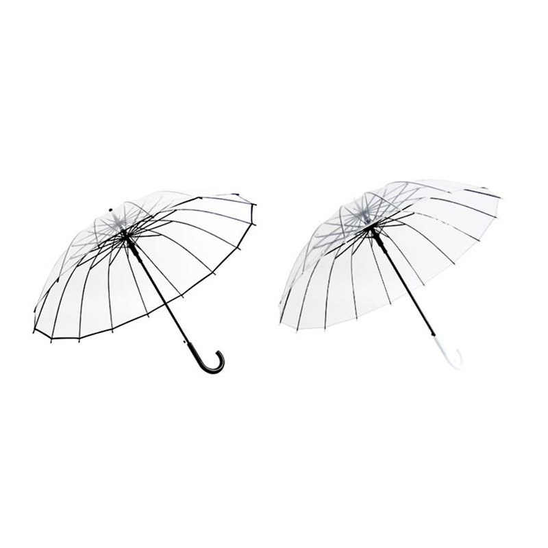 Полуавтоматические Прозрачные зонтики для защиты от ветра и дождя с длинной ручкой зонтик ясное поле зрения