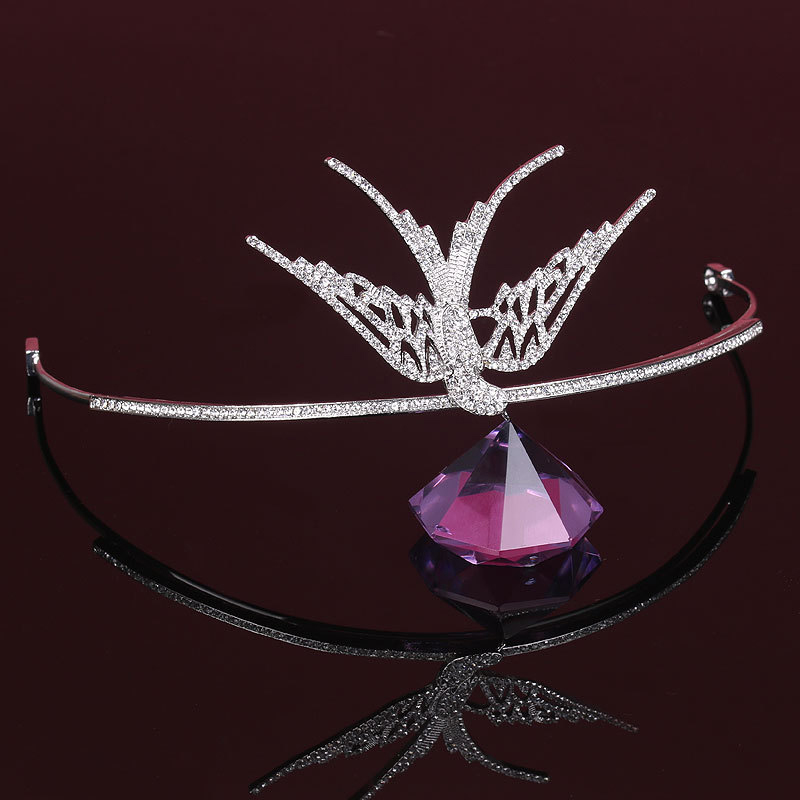 Princess Tiara Hair-Accessories Wedding-Headbands Crown Rhinestone Bird Bride's Crystal