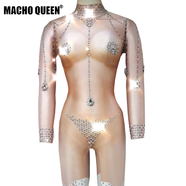 Nude Sparkly Rhinestone Bodysuit Crystal Jumpsuit Carnival Jewelred Drag  Queen Performance Costumes Party Celebrity Clothing a0dd5db80db4