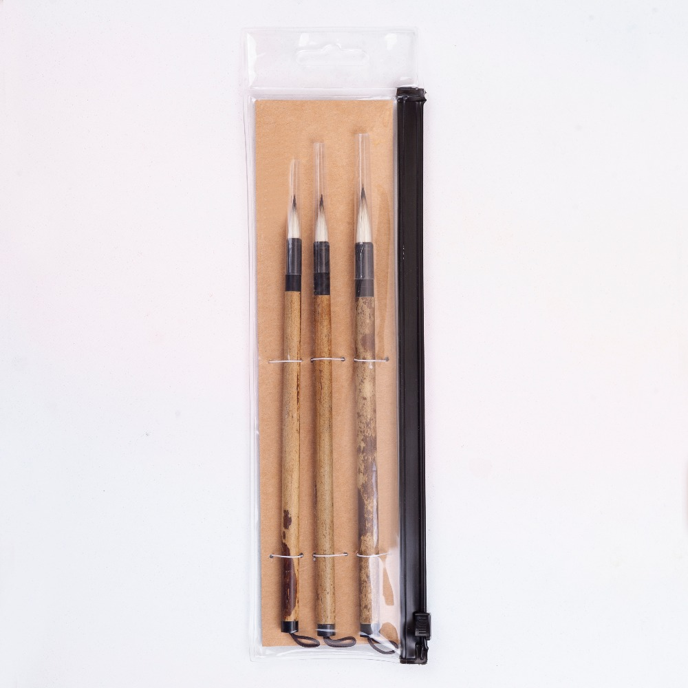 High Quality 3PC/Set BPR-04 Pony Hair & Rabbit Vellus Hair Bamboo Handle Chinese Painting Calligraphy Watercolor Paint Brush Set