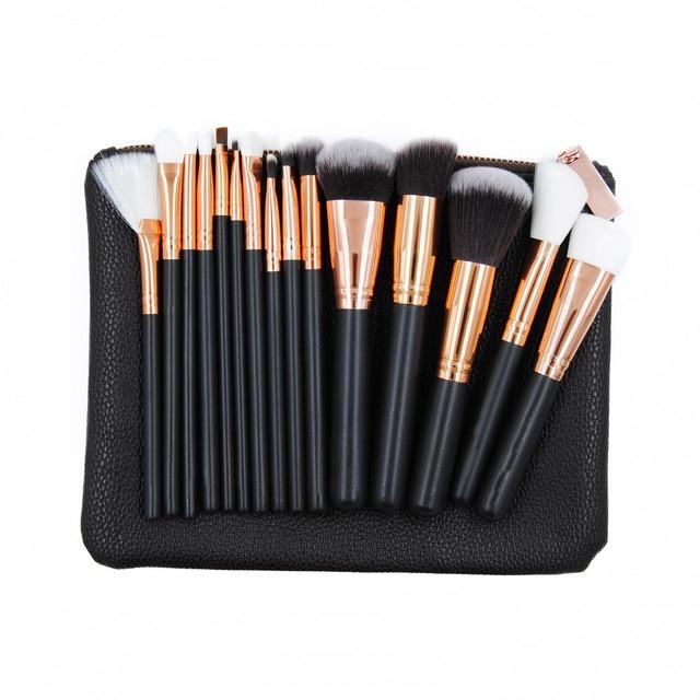New Fashion 15Pcs/Set Black Rose golden Makeup Brushes Kit Face Eyes Bulsher Powder Cosmetic Brush Beaury Tools With Comstic Bag