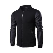 Personality New Male Jacket Zipper Leather Sweater Fashion Cotton Slim Fit Baseball Clothing B3154