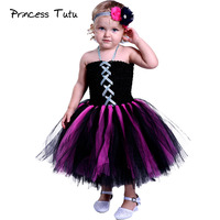 Girl Scary Vampire Cosplay Tutu Dress Child Kids Halloween Costume Princess Knee Length Evening Party Tutu