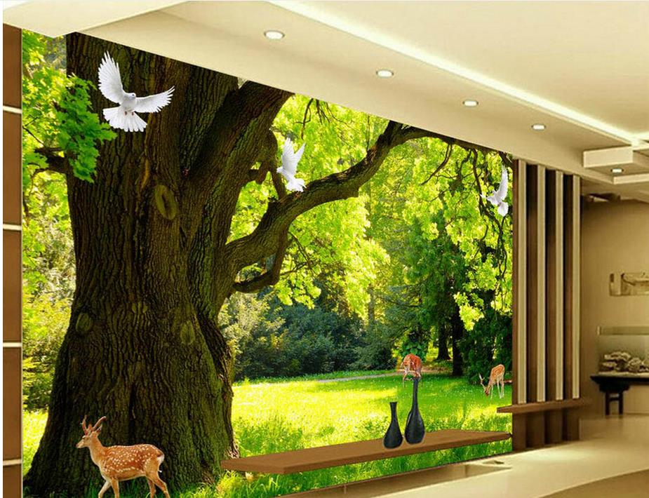 ФОТО  custom 3d photo wall mural Forest scenery wall murals for living room flower 3d wall paper photo murals wallpaper for furniture