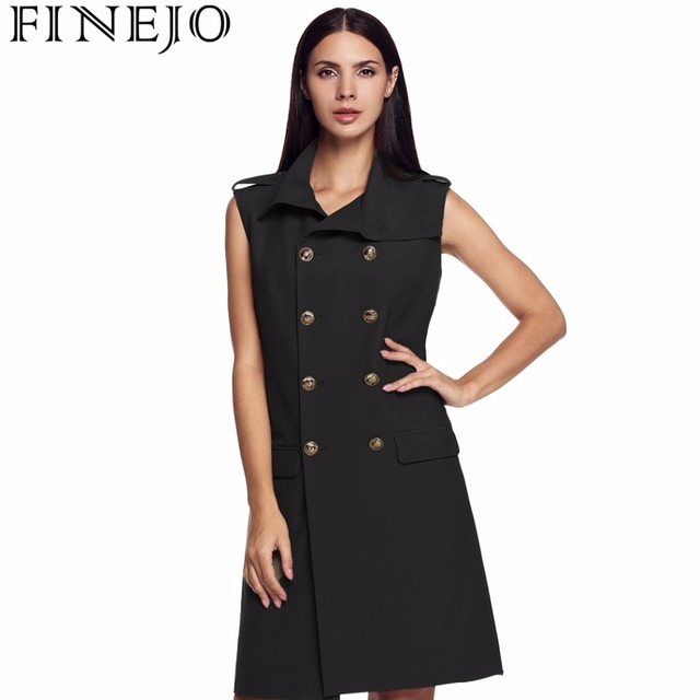 FINEJO Plus Size Long Sleeveless Trench Coat  Vest Women's Clothing High Neck Double Breasted Leisure Cardigan Coat S~XXL