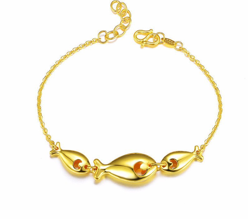 New  Pure Solid 24K Yellow Gold Bracelet / Best Three Fish Bracelet/ 7.89gNew  Pure Solid 24K Yellow Gold Bracelet / Best Three Fish Bracelet/ 7.89g