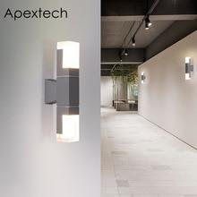 Apextech Outdoor LED Wall Lamp Up&Down Aluminum+Crystal Acrylic Waterproof Garden Light 5W 10W Veranda Porch Courtyard Lights