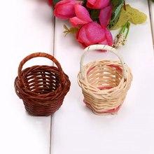1 шт. мини пластиковое плетение хранилище корзина для фруктов из ротанга коробка для хранения косметики чай Пикник корзина Органайзер кухня ручная работа