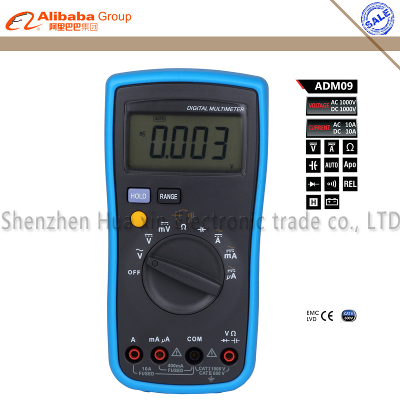 Bside ADM09 4000 count automatic range Auto ranging Digital Multimeter Free shipping bside adm02 auto range mini digital multimeter w backlight temp max value black blue