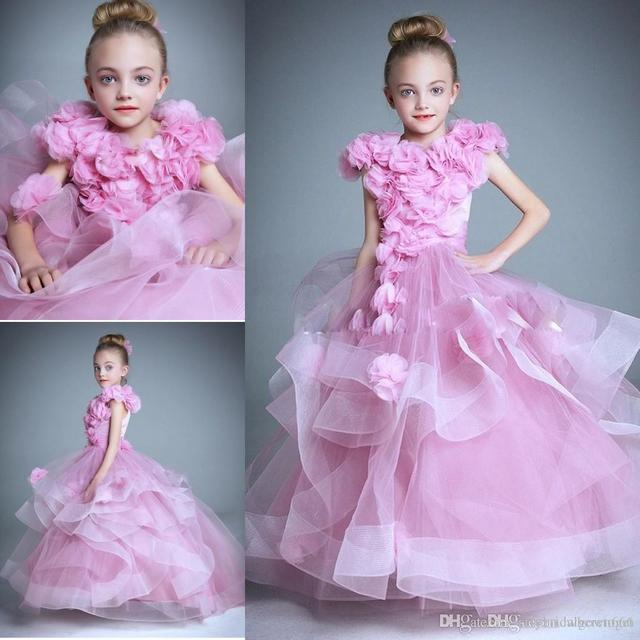 220a8496cfd Amazing Girl Pageant Dresses For Little Girls Organza Hand Made Flowers  Short Sleeve Flower Girls Dresses