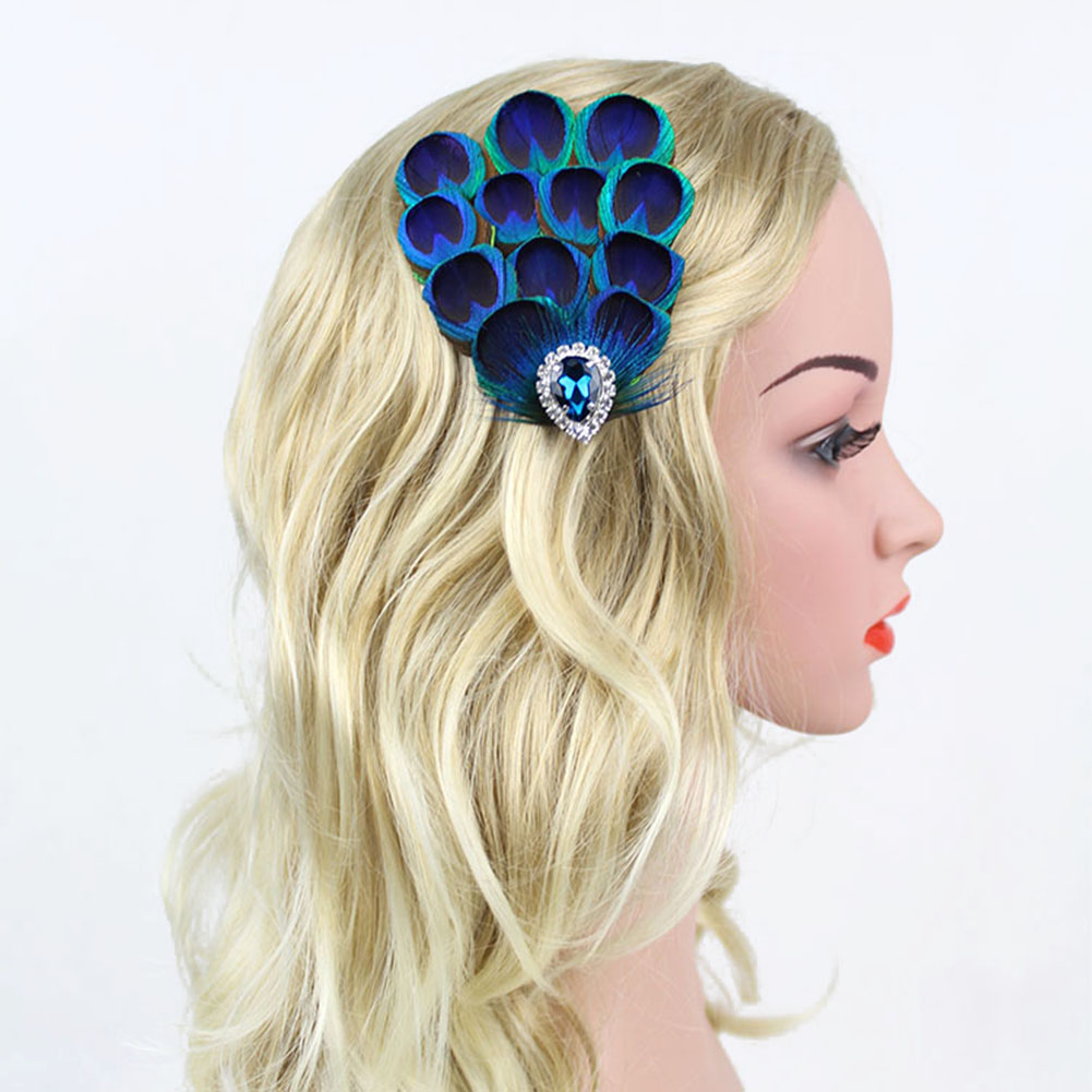 Retro Indian Style Peacock Feather Blue Crystal Rhinestone Hair Clip Hairpin Wedding Bridal Headpiece