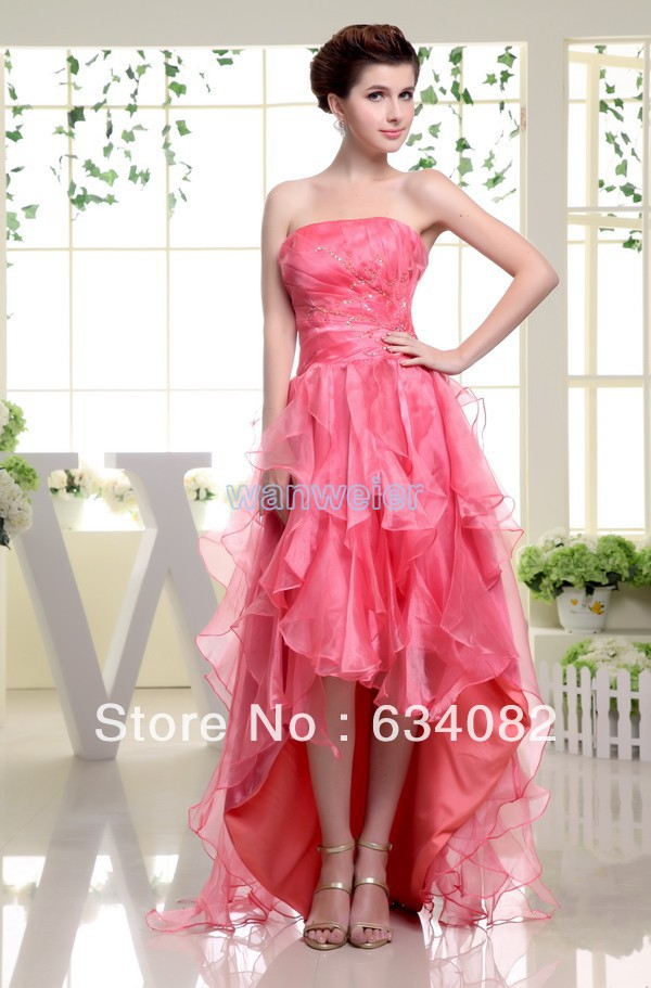 cheap strapless gown free shipping velvet organza 2016 tiered summer   dresses   short in front long in back line   bridesmaid     dress