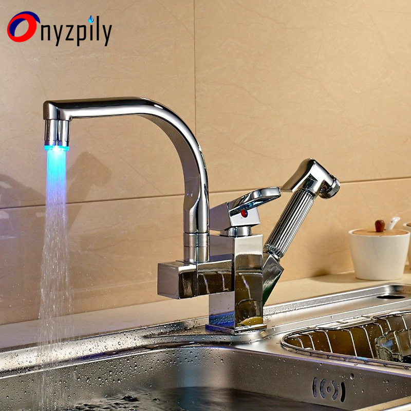 Kitchen Faucets Chrome Brass Led Spout Pull Out Vessel