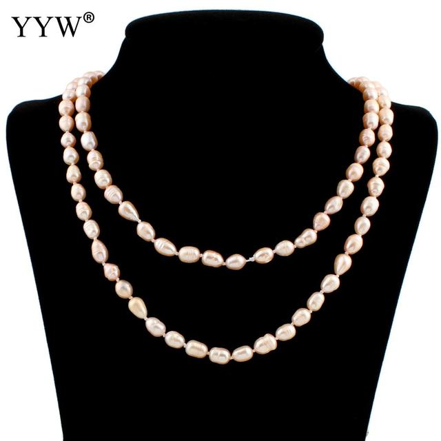 f7e2f12e7 Hot Sale Natural Freshwater Pearl Necklace 7-8mm Oval Rice Beaded AA Grade  Pink Pearl Long Sweater Chain Necklaces Women