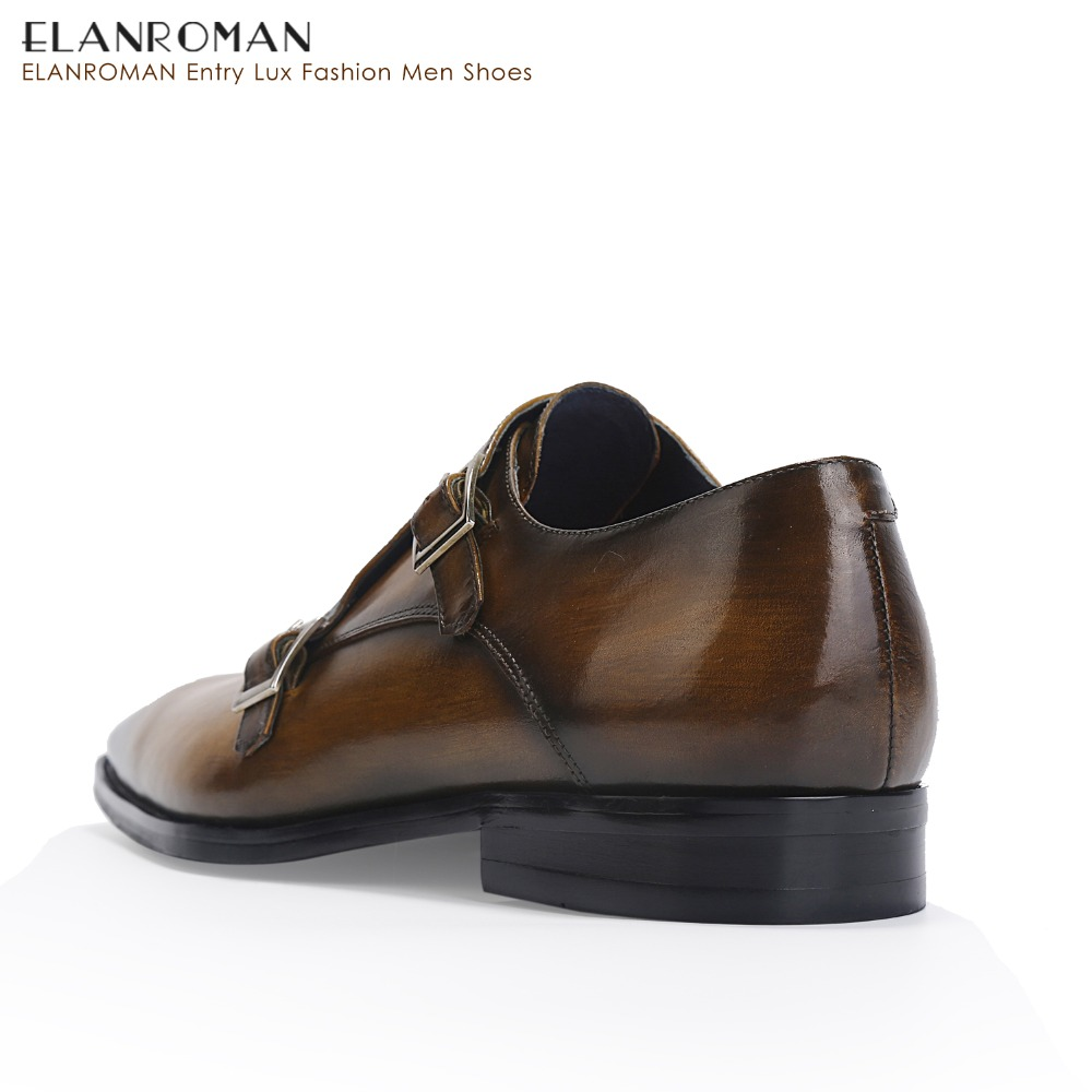 89c8aaa9d12c2 ELANROMAN Men Shoes Dresses Leather Height Increase Double Monk Strap  Luxury Brand Shoes Men Handmade Formal Shoes-in Formal Shoes from Shoes on  ...