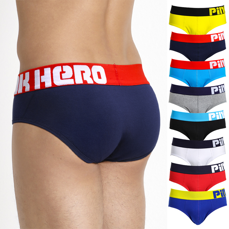New Pink Heroes High Quality Cotton Underwear Men Briefs Solid Color Men Underwear Shorts Sexy Male Underpants
