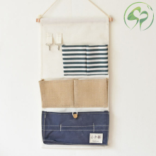 Home Wall Hanging Storage Pocket Bag Cotton Linen Mounted Wardrobe Pouch Cosmetic Toys Organizer