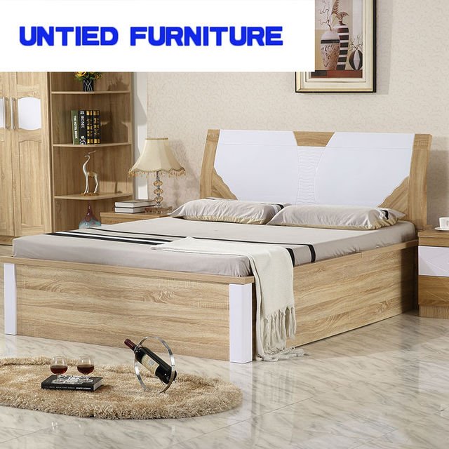 Latest Desing Of Mdf Modern Double Bed Simple Wedding Wooden Bedroom Set Home